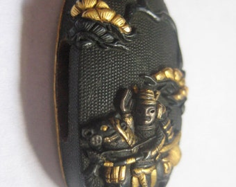 SALE 20% OFFShakudo 35x17mm Japanese Samurai Warrior in Black and Gold Bead 1800s