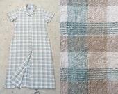 vintage c. 1990s green and tan plaid silk button down maxi dress l