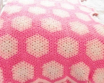 Vintage Large Bright Pink Crocheted Granny Square Style Blanket