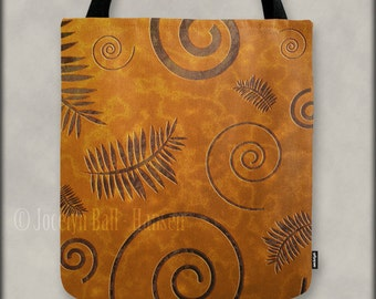 Graphic Fossil Shapes and Red Sand Texture Tote Bag, Over the Shoulder Canvas Bag, Organic Leaves and Spiral Shell Design