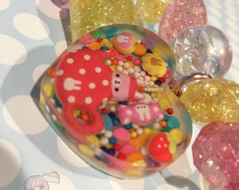 Bunny In A Teapot Sprinkles Kawaii Pink And Yellow Chunky Beads Bracelet