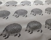 Hedgehog Fabric, Hedgie Drawing, Sketch, Illustration, Oxford Cloth Cotton Fabric Remnant in Black and White - 50 cm