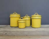 Vintage Aluminum Kitchen Storage Canisters Yellow & Blue