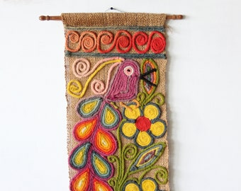 Large Bird Colorful 1960s Textile Art Wall Hanging