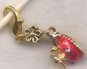 Pink Tea Cup Stitch Marker Clip Enameled Rhinestone Charm Single /SM248C