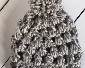 Slouchy Grey Crocheted Child  Hat