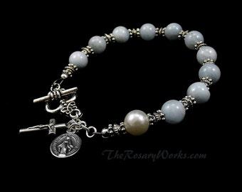 Aquamarine Rosary Bracelet Chaplet Single Decade Mirculous Medal St Therese Mary Undoer Knots Little Flower Holy Spirit Family OL Grace