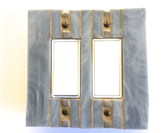 Gray Stained Glass Light Switch Cover, Grey Switch Plate, Double Decora Wall Plate, Rectangle Outlet, Decorative Switch Cover, 8290
