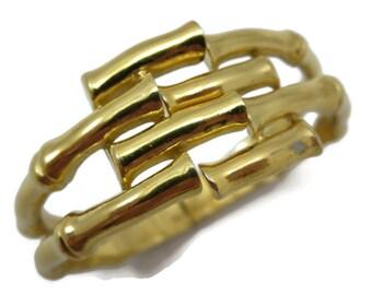 Trifari Bracelet - Clamper Cuff Bangle, Gold Bamboo Costume Jewelry