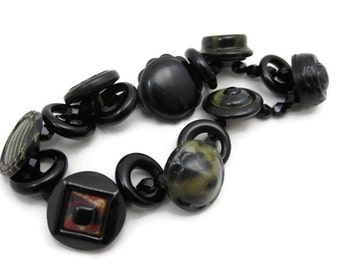 Vintage Button Bracelet - Hard Rubber, Metal, Celluloid, Black Glass