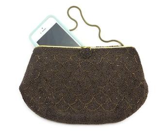 Chocolate Brown Beaded Purse - French Seed Bead Bridal Wedding Clutch Bag