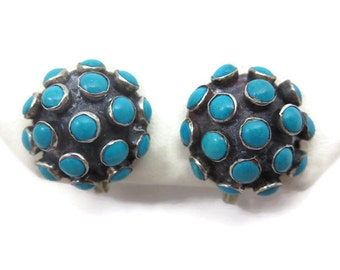 Turquoise Jewelry - Sterling Silver, Blue Turquoise Earrings, Screwback, Mexico