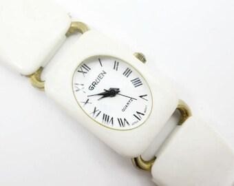 Gruen Ladies Watch - Cream Off White Lucite Links, Quartz, Runs