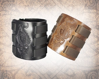 Dragon Leather Cuff, Leather Wristband, Brown Leather Cuff, Leather Bracelet, Black Leather Cuff, Leather Band - Custom to You (1 cuff only)