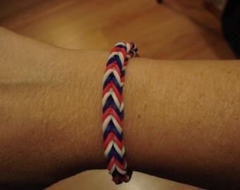 Rainbow Loom Patriotic Red White & Blue Fishtail Bracelet