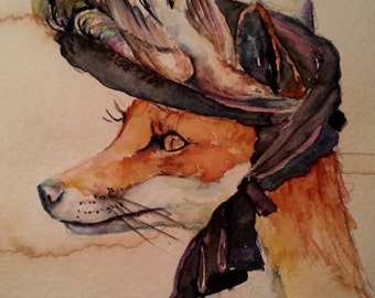Foxy Fox -  Coffee and Watercolor Victorian Steam Punk Fine art print, feathers, goggles, fancy, critter, animal, plume, pigeon