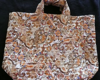 Market Bag - Quilted -  Brown Paisley
