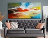 Original  Abstract Painting, red gold blue painting on canvas, ready to hang, abstract seascape painting contemporary Large blue turquoise