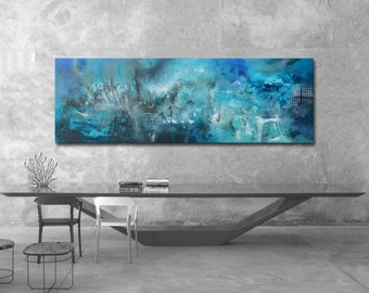 Large Abstract Painting Original blue art Acrylic abstract painting, abstract blue painting,  painting on canvas, ready to hang, long art