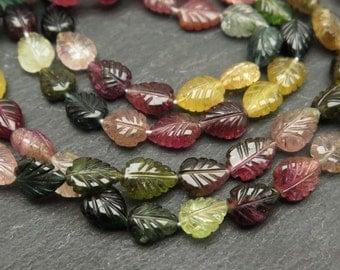 Multi Tourmaline Carved Leaf Beads, 8-9mm (ET6891)