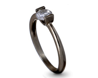 Unique Wedding Ring , Delicate Engagement Ring, Promise Ring, Oxidized Silver and Zircon Ring, Stacking Engagement Ring
