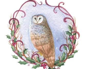 Winter Owl Original Painting/Barn Owl Watercolor/Christmas/Original Art