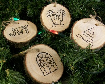 Color Your Own Wood Slice Christmas Ornament set of 4