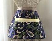 Vendor Apron Waist Half Teacher Craft iPad Purple Lavendor Paisley Waterproof Wipeable Fabric (4 Pockets)