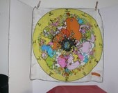 Peter Max Design - Silk Scarf - Vintage 1960's -World - Zodiac  - Collectible
