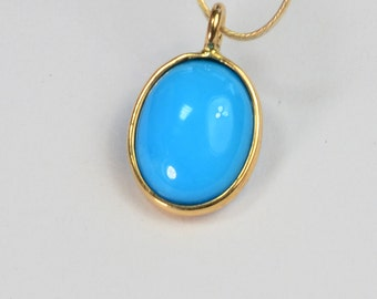 18k Solid Yellow Gold Sleeping Beauty Turquoise Oval Cabochon Bezel Pendant Charm