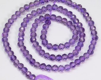 Lavender 3.6MM Purple Amethyst Faceted Rondelle Beads 13 inch Strand