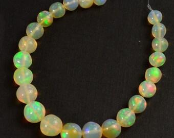 4.8mm-7mm Fine Ethiopian Welo Opal Plain Round Beads 5 inch strand