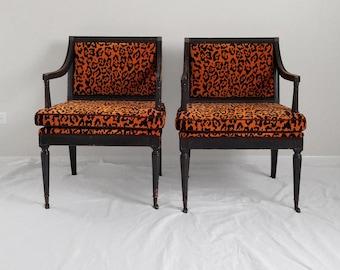 2 HOLLYWOOD REGENCY leopard & ebony finish arm chairs