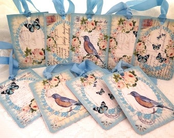 Shabby Set of 9 Spring Birds Roses and Butterfly Gift Tags Vintage French Script Shabby Chic tag Shabby gift tag