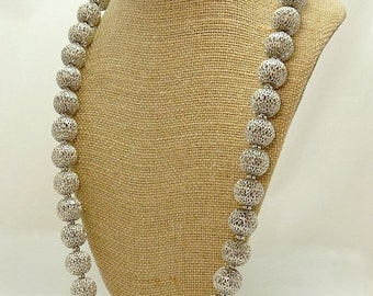 Vintage Monet Filigree Silver Bead Necklace