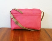 Hot Pink Water Repellent Canvas Crossbody Zipper Bag