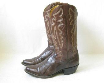 Vintage LIZARD SKIN Brown Cowboy Boots. Size 9 1/2 Men's