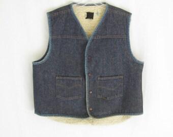 Vintage 70's Fleece Lined DENIM VEST. Men's Large