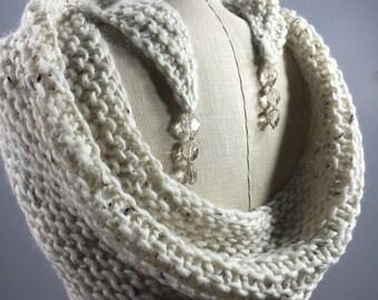 Mindful Wrap, Wearable Fiber Art-Smoky Quartz Beads on a Natural Merino, Alpaca, Silk, Donegal Mindfulness Mantle