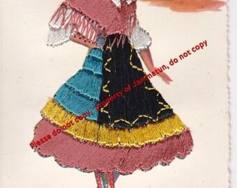 Vintage Silk Embroidered Lagartera Postcard Elsi Gumier Made in Spain