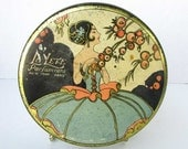 1920 Vintage LaLete Parumeurs NY Paris Lithographed Advertising Tin Talcum Powder Container, Art Deco Design w Woman and Fruit Tree, Tindeco