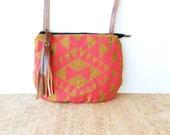 date purse  • neon crossbody bag - geometric • triangle geometric pattern - hot pink - burnt orange - gift under 50 - screenprinted • vukani