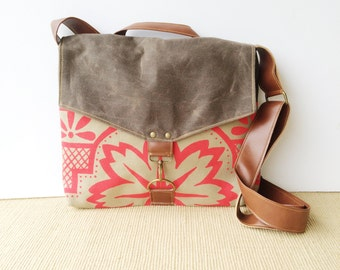 commuter • waxed canvas crossbody messenger bag • hot pink geometric floral print - brown waxed canvas - olive canvas • talavera