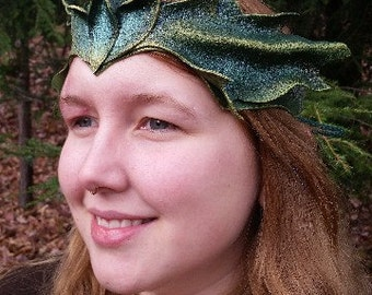 Leather Pixi Crown in Green