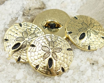 Sand Dollar Button Findings TierraCast Antique Gold Button Clasp Findings Beach Jewelry Supplies Leather Bracelet Clasp Findings (P1301)
