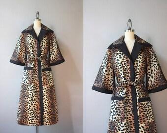 Vintage Lilli Ann Coat / 1960s Lilli Ann Leopard Print Coat / 60s Cheetah Print Wrap Jacket