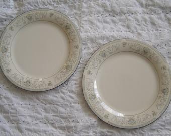 Two Vintage American Royalty Blue Versailles Dinner Plates