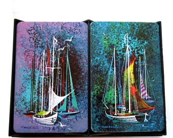 Vintage double deck of cards picture illustration of mid century modern painting of sailboats in original box