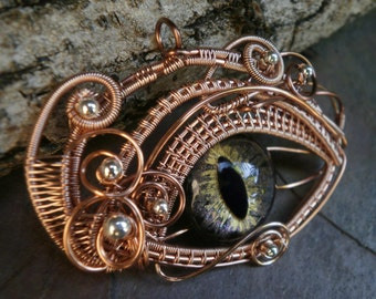 Gothic Steampunk Rose Gold Eye Pendant Medium Size