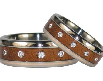Twelve Diamond Wedding Ring Set with Koa Wood and Rose Gold